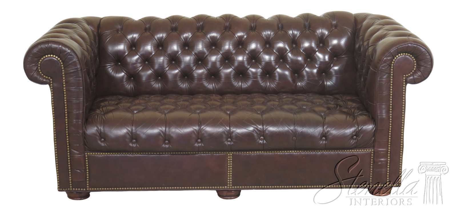 Details About F30790ec Brown Tufted Leather Chesterfield Sofa