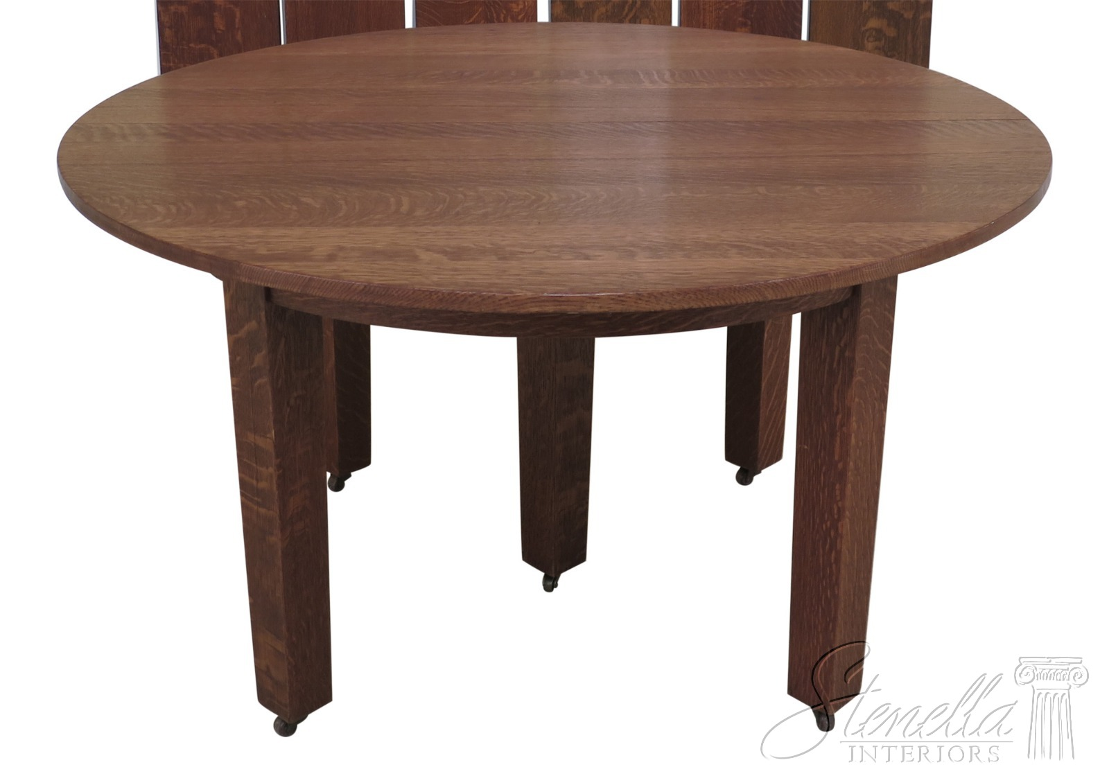 Details about F30715EC: STICKLEY Antique Original Round Dining Room  Extension Table