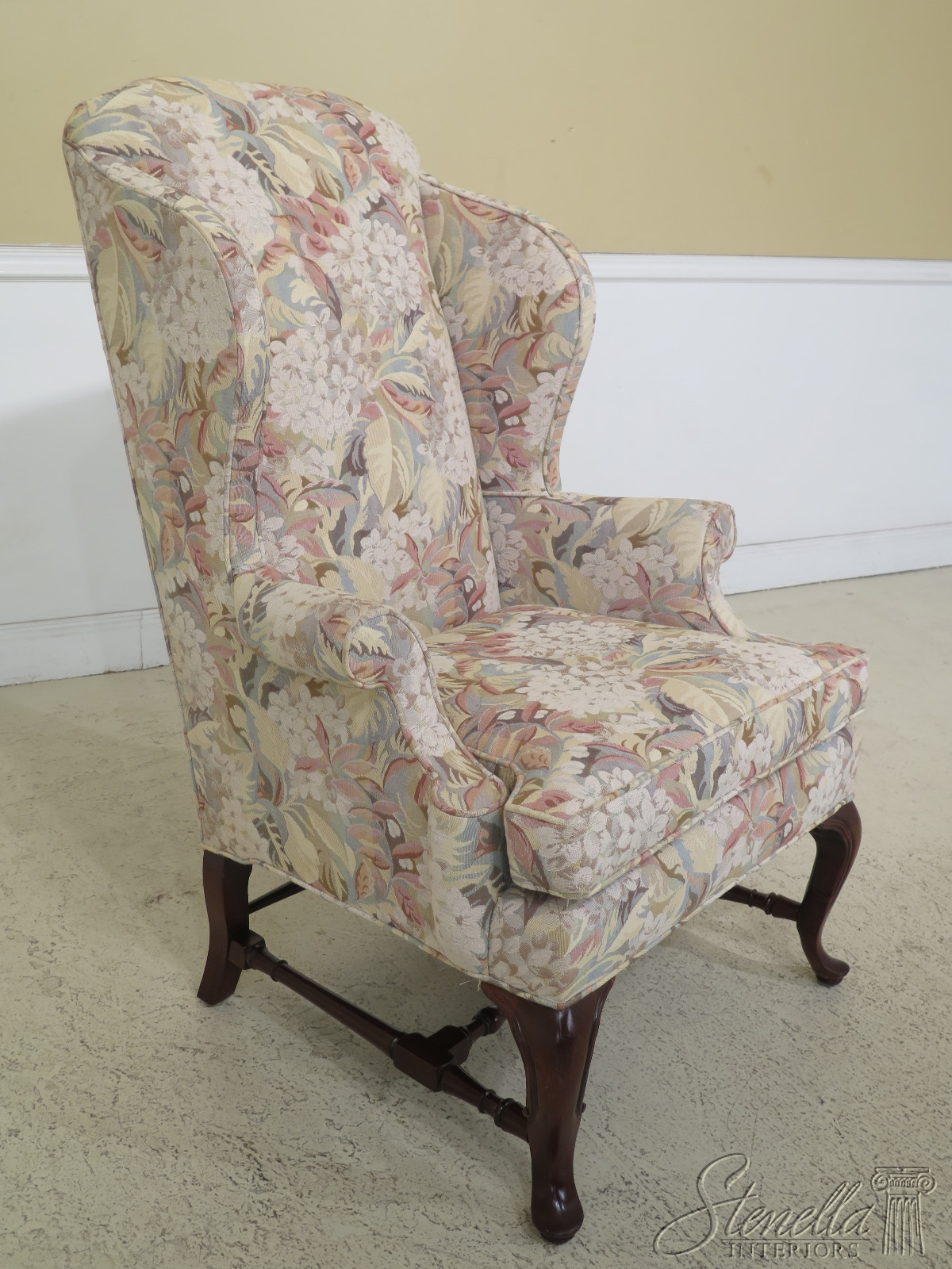 30760ec Baker Queen Anne Tapestry Fabric Wing Back Chair