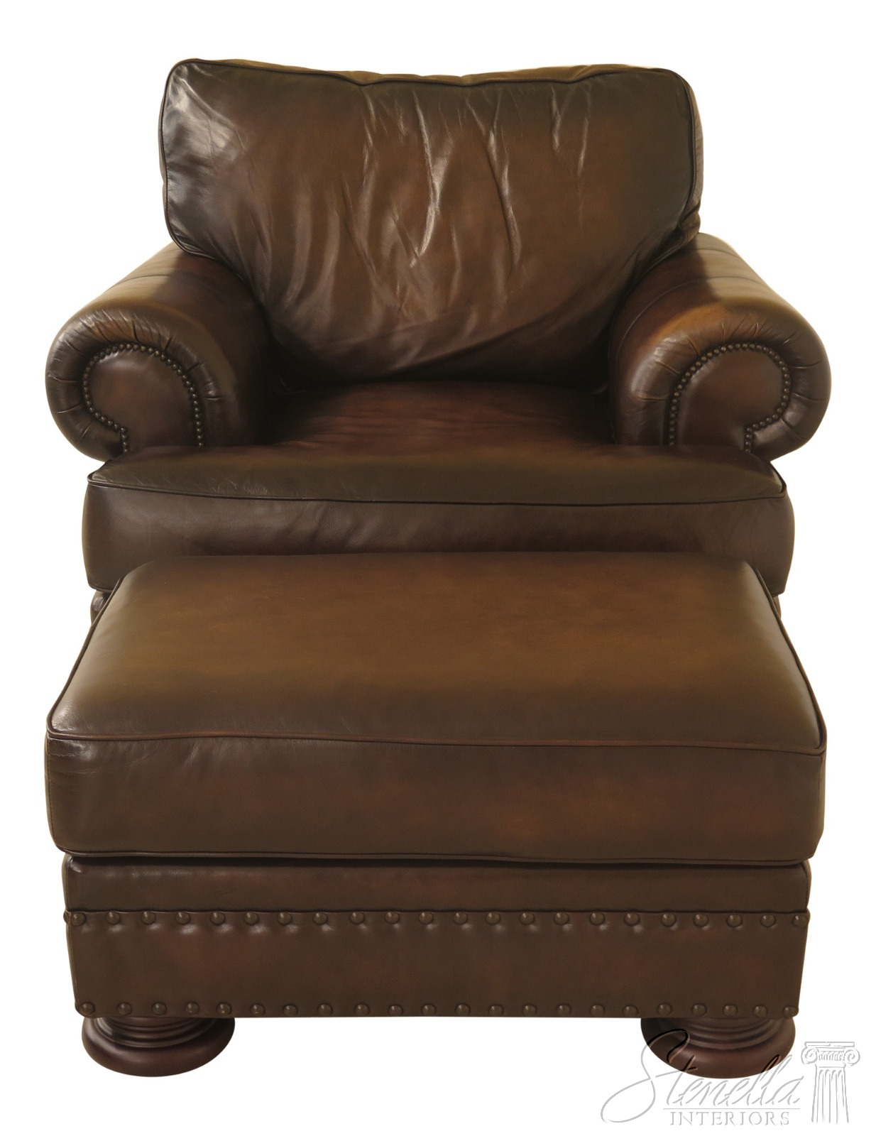30782ec Bernhardt Oversized Leather Club Chair Amp Ottoman