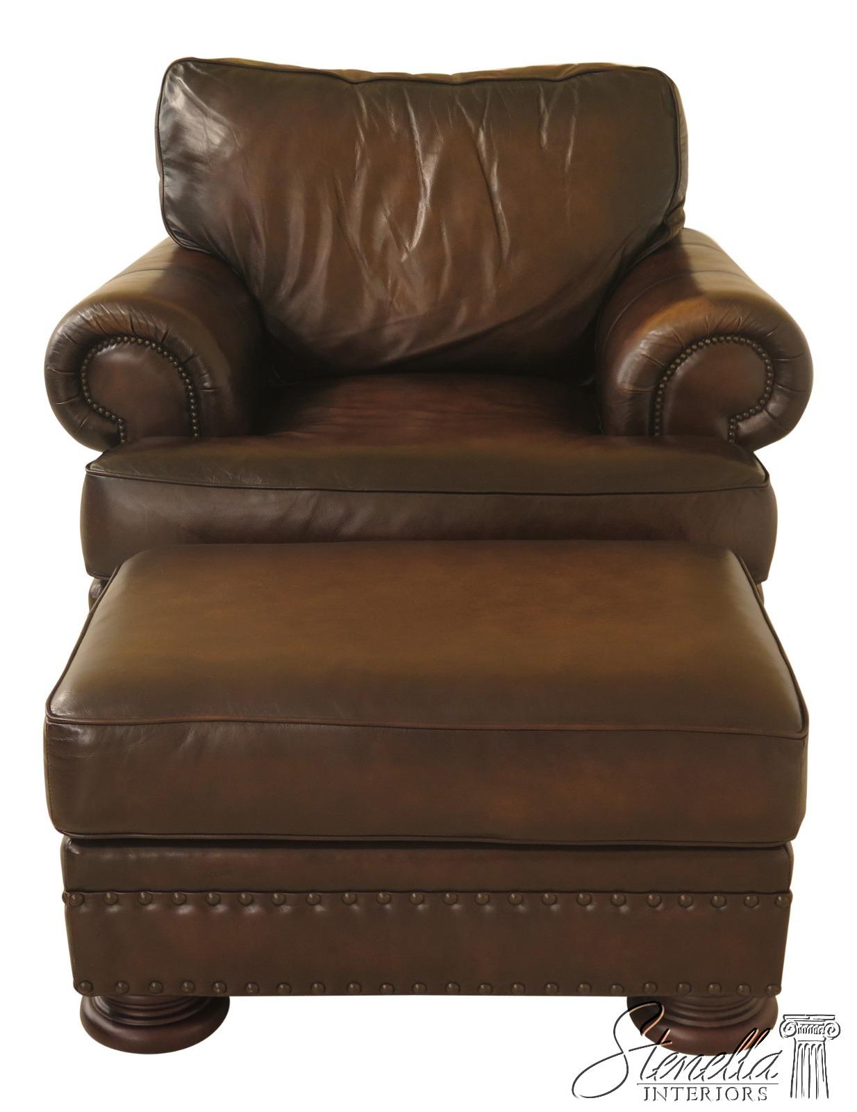Cool Details About 30782Ec Bernhardt Oversized Leather Club Chair Ottoman Alphanode Cool Chair Designs And Ideas Alphanodeonline