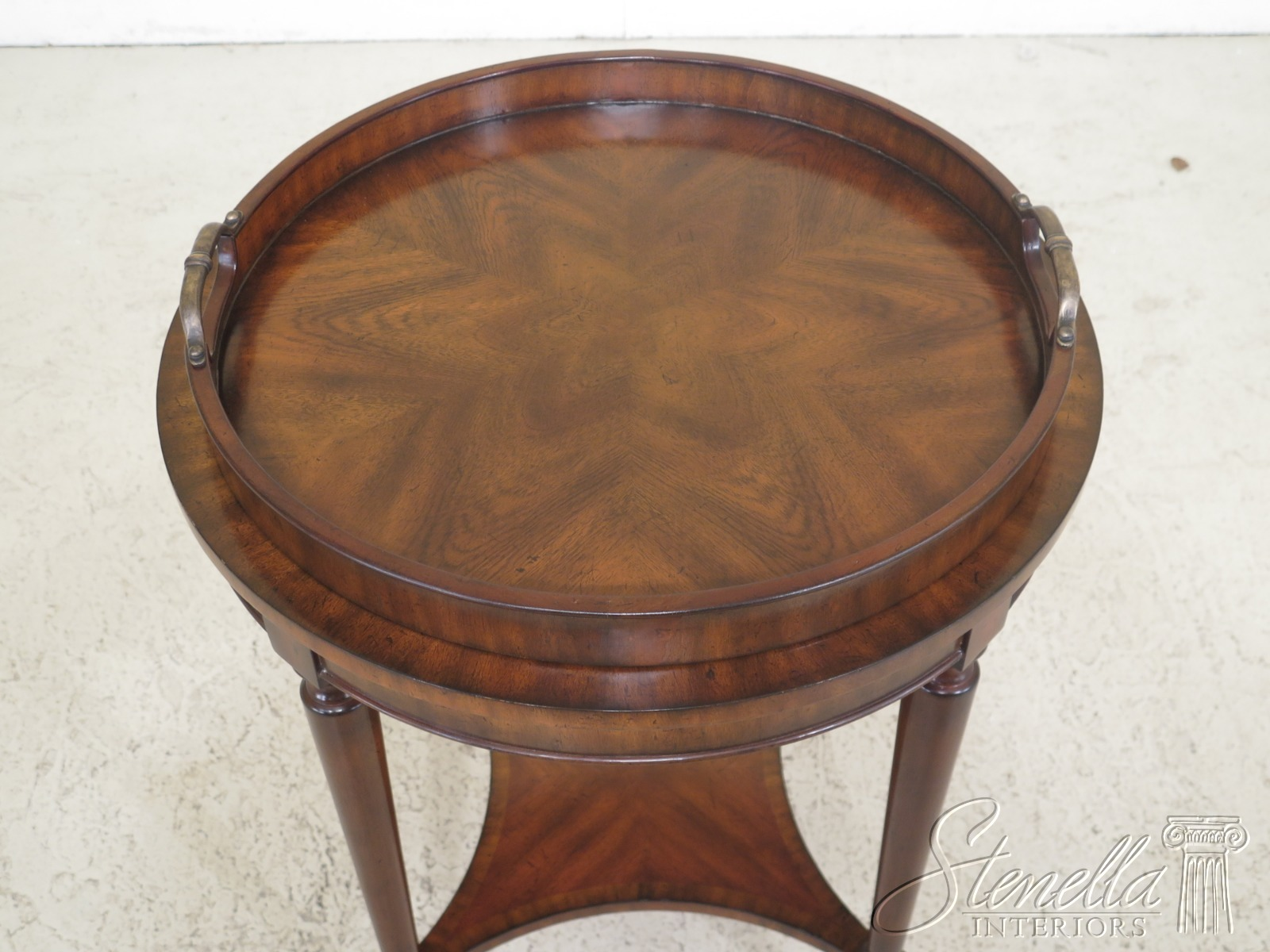 L30794ec Leather Top Round Maitland Smith Table W Tray