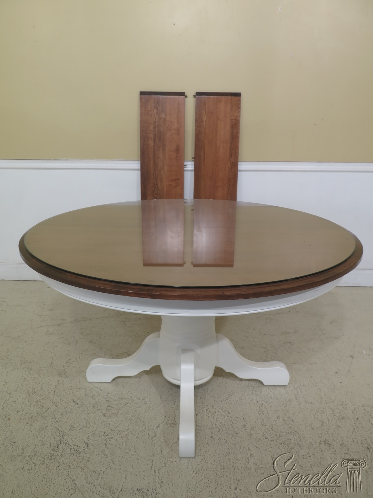 Details about LF47260EC: Round Maple & White Painted Dining Room Kitchen  Table