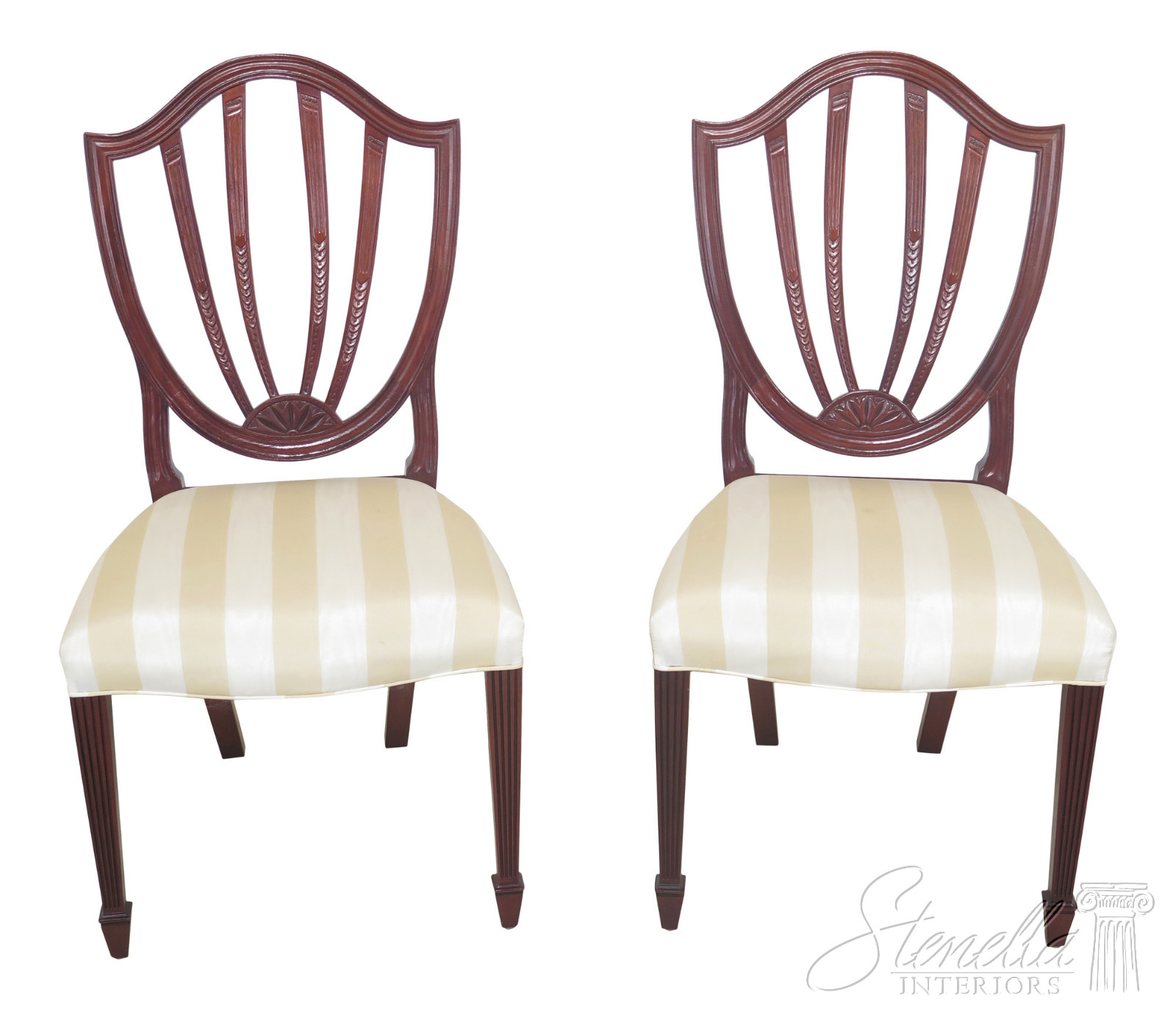 Shield Back Dining Room Chairs: L47350EC: Pair BAKER Shield Back Mahogany Dining Room
