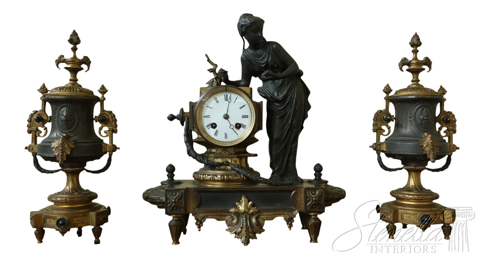 F50461ec 66ec Antique 3 Piece Bronze Clock Urn Set Ebay