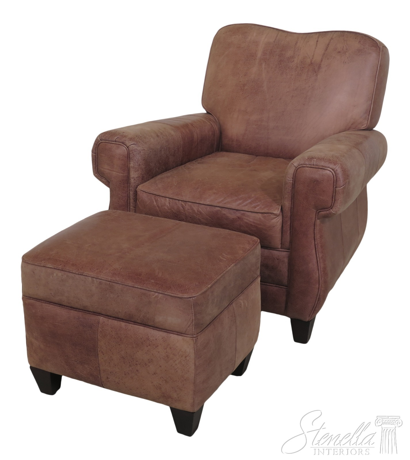 F46653EC: Distressed Leather Chair & Matching Ottoman | eBay