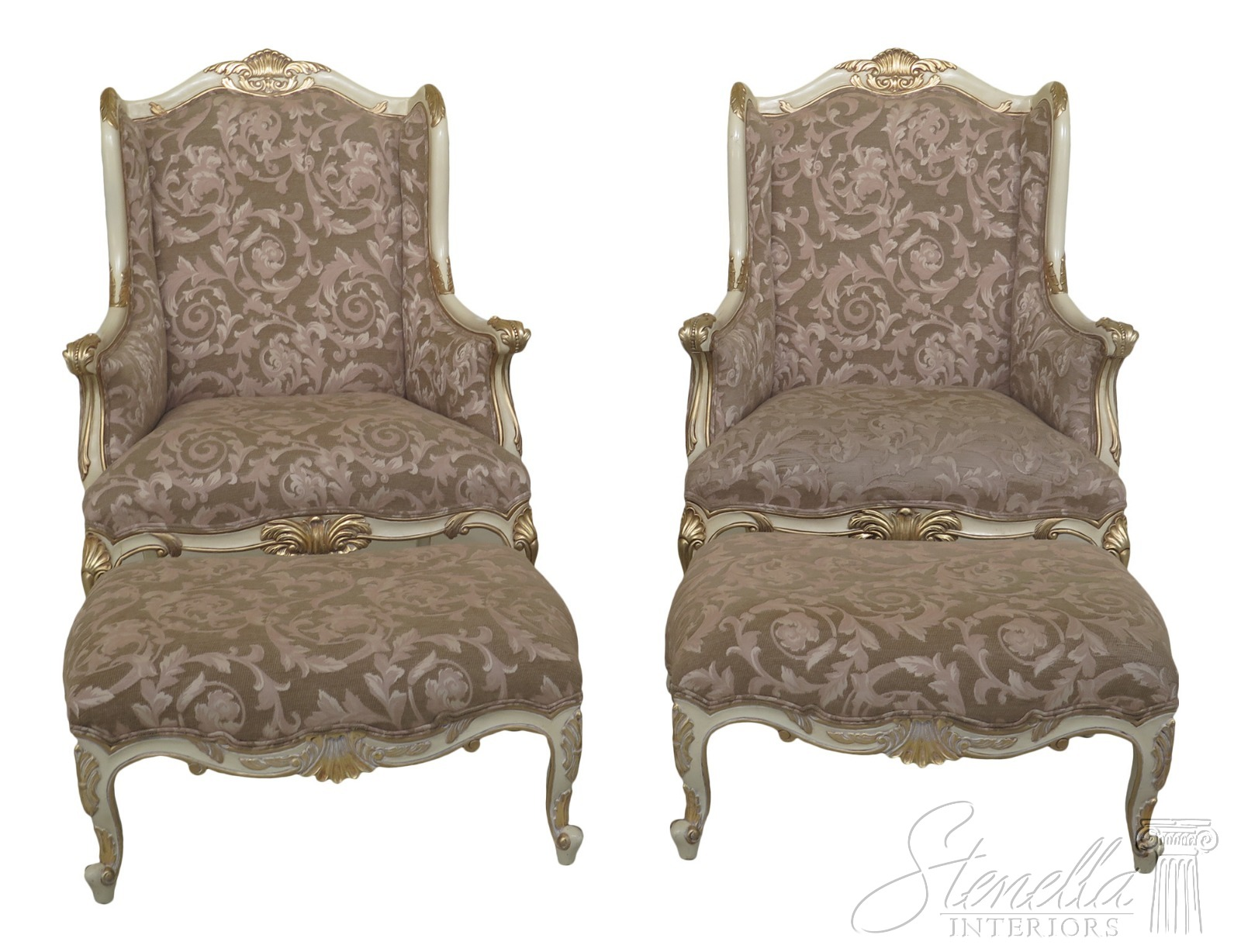 Miraculous Details About F31223Ec 24Ec Pair French Louis Xiv Style White Chair Matching Ottoman Gmtry Best Dining Table And Chair Ideas Images Gmtryco