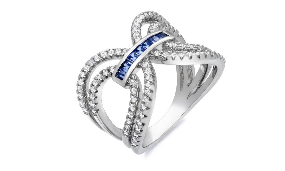 Elements of Love Emerald Cut Double X Ring Made with Swarovski Elements 052e23aed5