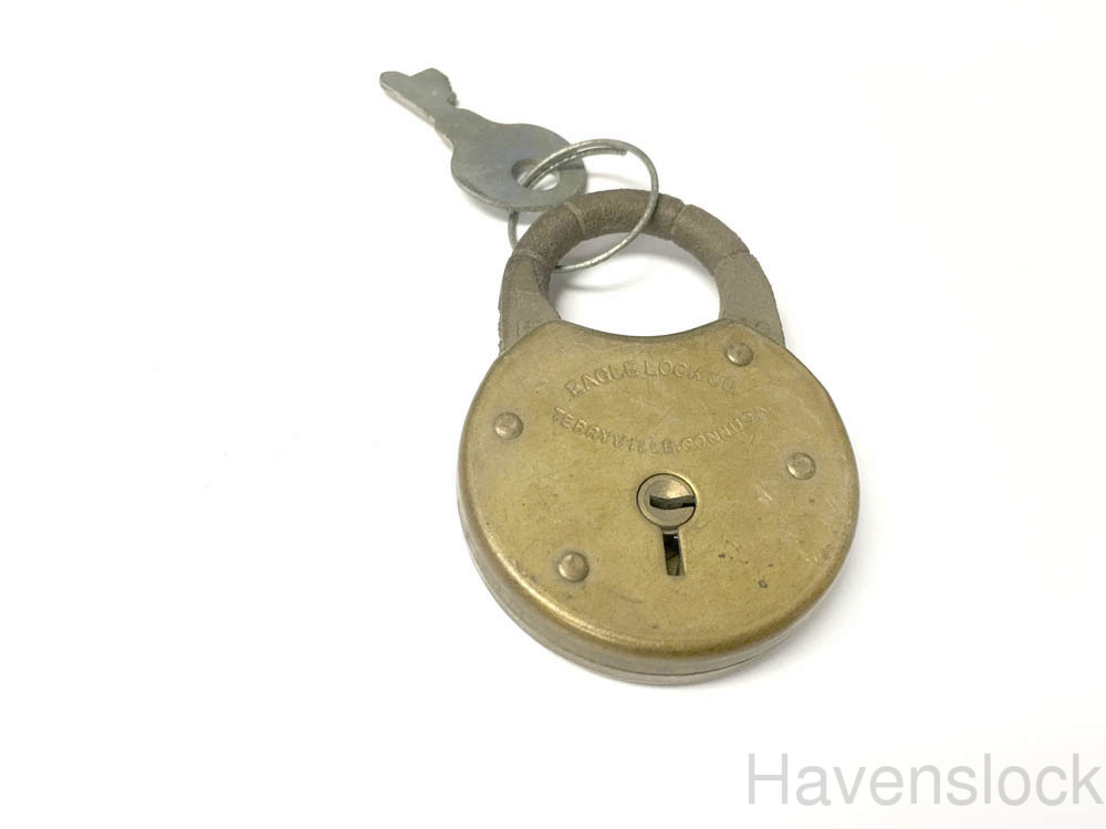 Vintage Eagle Lock with Original key - Brass & cas