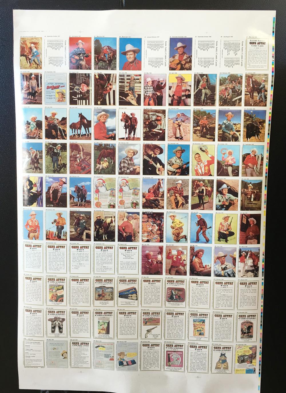 (1) Rare Gene Autry Uncut Poster of 100 Comic Trad