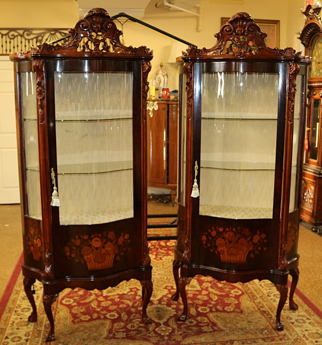 Mahogany Italian Inlaid Curio Cabinets