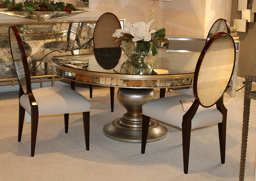 Details about Incredible Art Deco Antiqued Glass Eglimose Round Mirrored  Dining Table ONLY