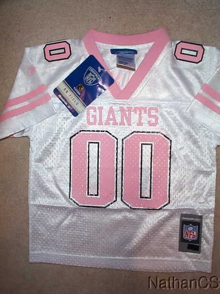 afb0ac18 Details about PINK New York NY Giants #00 nfl REEBOK Jersey YOUTH KIDS  (GIRLS xl-16)