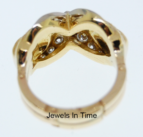 14K Yellow Gold Diamond Ring With Fingermate Shank