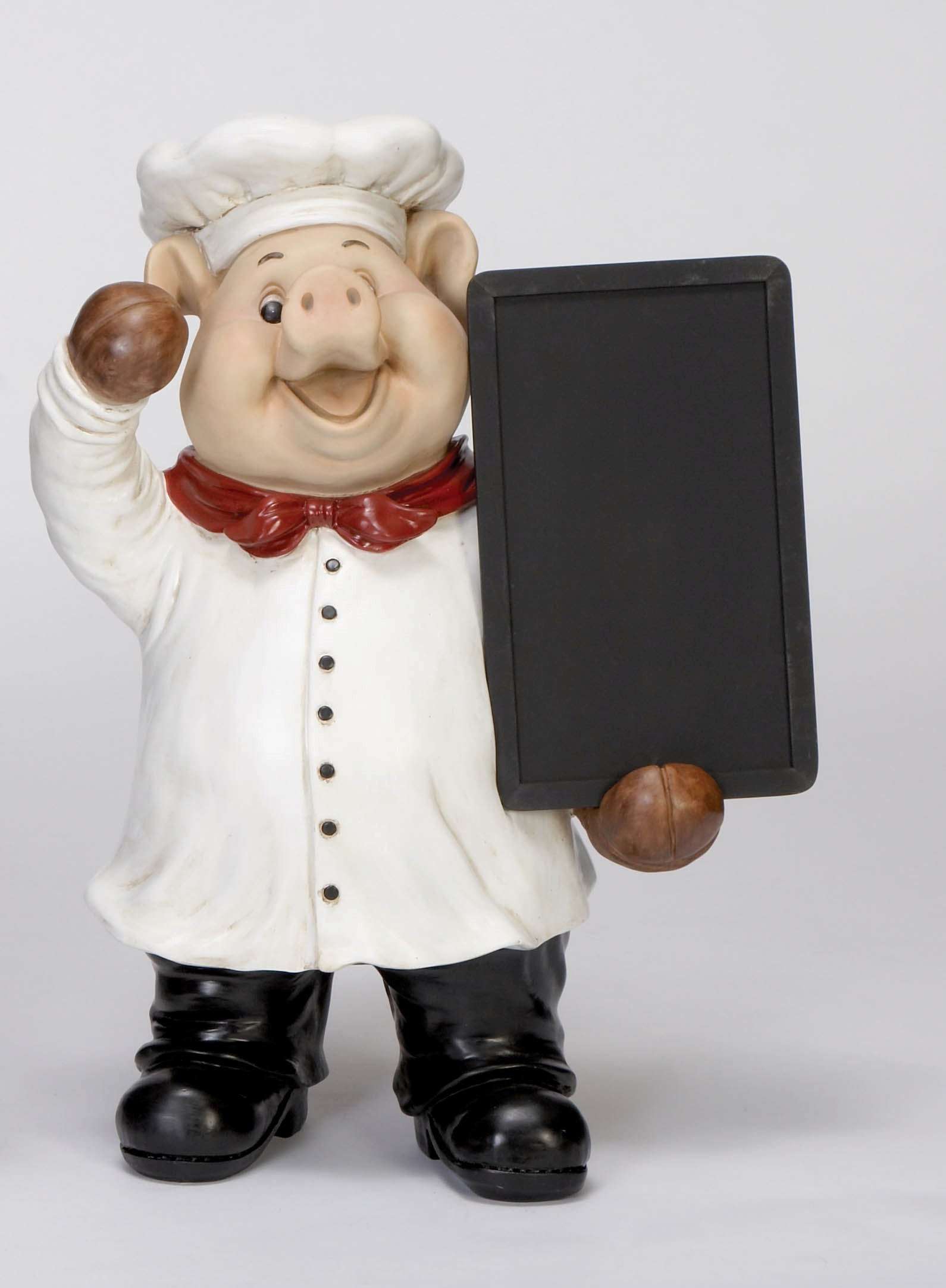 Large Polyresin Pig Chef Statue With Chalk Board Kitchen: pig kitchen decor