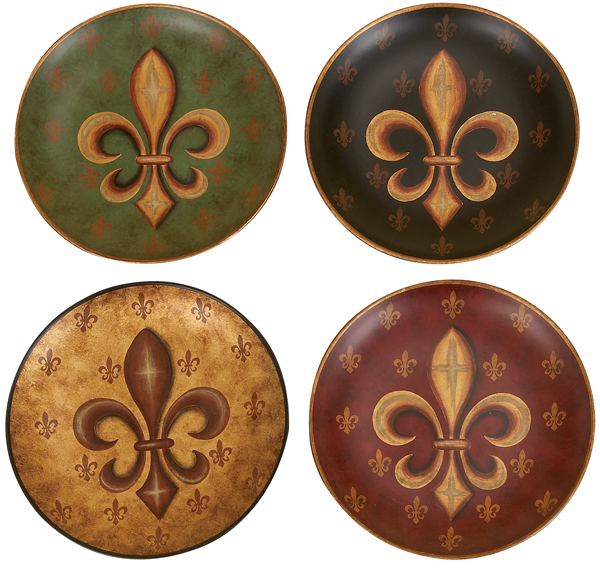 Set 4 fleur de lis wall decor ceramic plates 10 for Decorative wall dishes