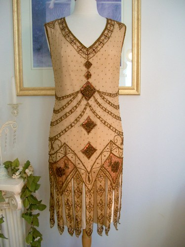 ... GREAT GATSBY Copper BEADED FLAPPER Dress-S,M,L,XL or Plus Sizes | eBay