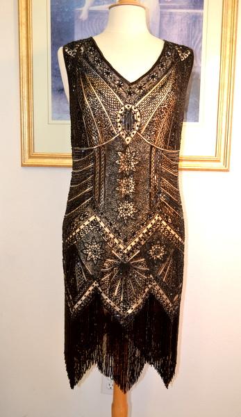 Limited Edition 1920s Style Nudeblack Beaded Fringe Flapper Dress
