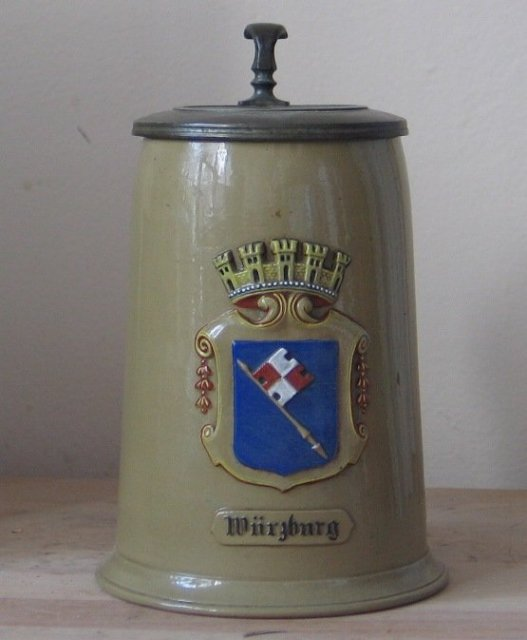 ... Regt. Etched Mettlach 2238 German Beer Stein, Inlay, Dtd 1897, Mint