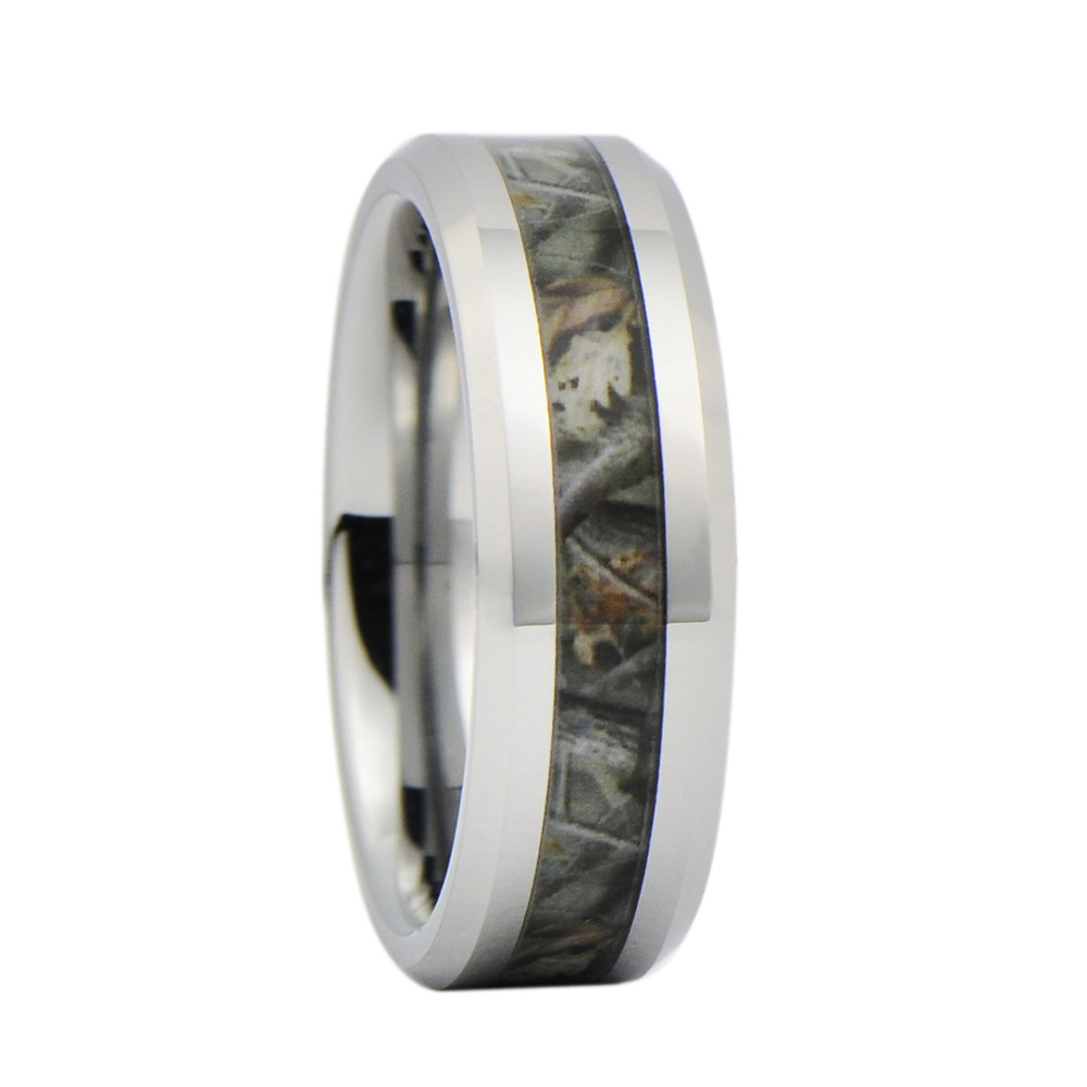 Camo Wedding Bands: Unisex Camo Hunting Brown/Green Camouflage 7mm Tungsten