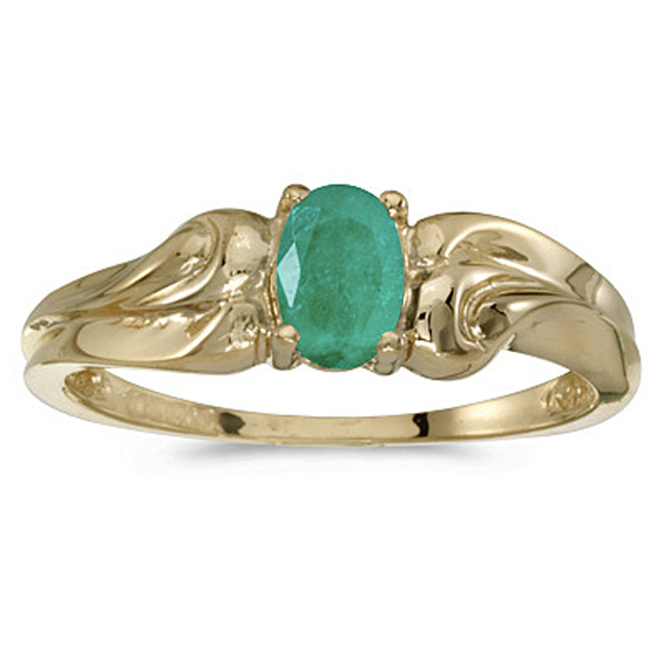 10k yellow gold oval genuine emerald ring ebay