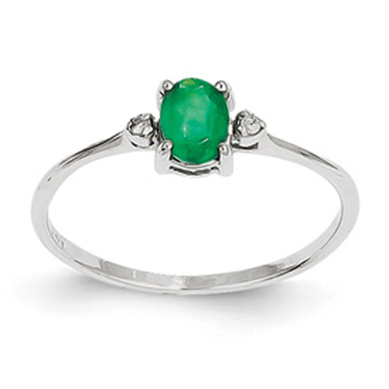 white gold emerald and ring 14k ebay