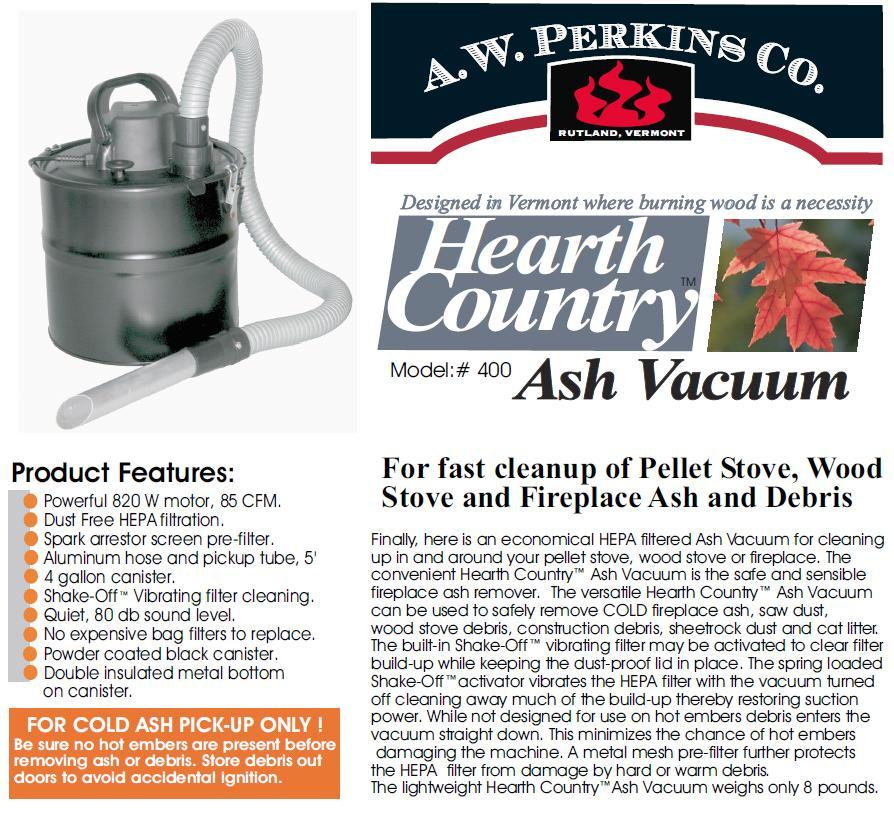 http://imagehost.vendio.com/a/879347/view/ - HEARTH COUNTRY Ash Vacuum Pellet Stove Fireplace Vac NEW