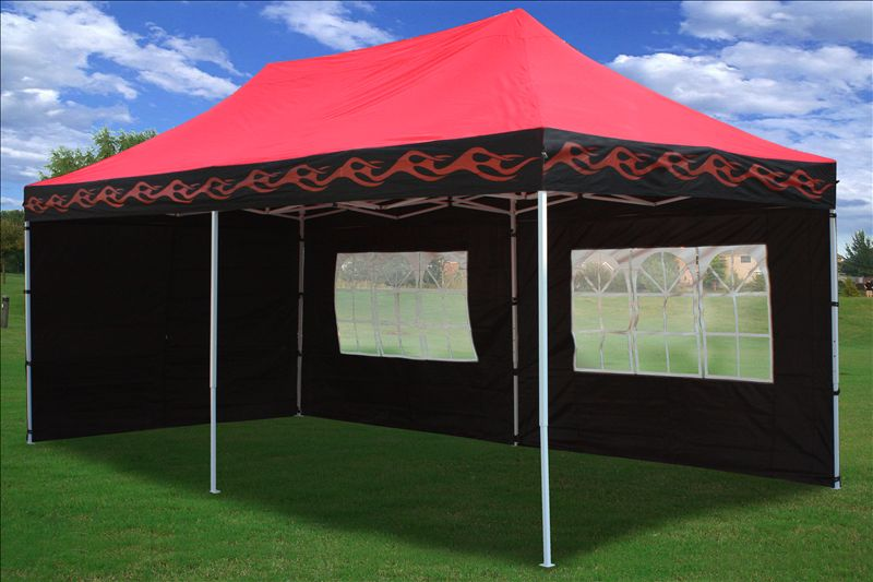 Ez Up Canopy 10x20 >> 10x20 Pop Up 6 Wall Canopy Party Tent Gazebo Set EZ Black or Red Flame | eBay