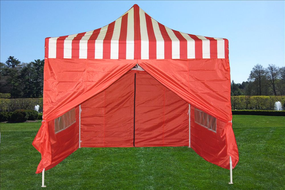 10 X10 Pop Up Canopy Party Tent Ez Red Stripe F Model