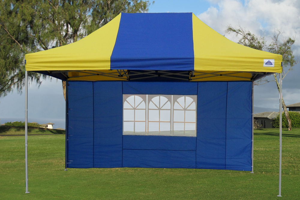 10 39 x15 39 enclosed pop up canopy party folding tent blue yellow e model ebay - Enclosed gazebo models ...