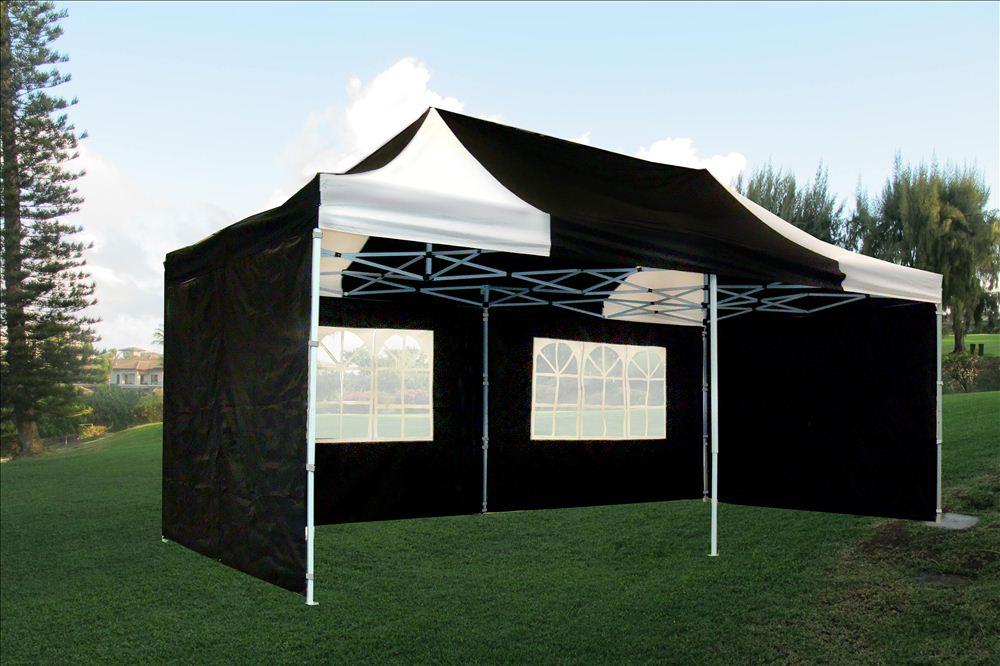 main image & 10u0027 x 20u0027 Pop Up Canopy Party Tent Gazebo EZ - Black White - E ...