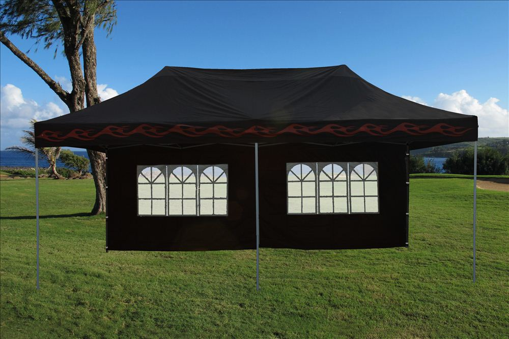 10 39 x20 39 enclosed pop up canopy party folding tent gazebo black flame e model ebay - Enclosed gazebo models ...