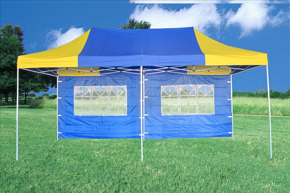 10 X20 Pop Up Canopy Party Tent Ez Blue Yellow F