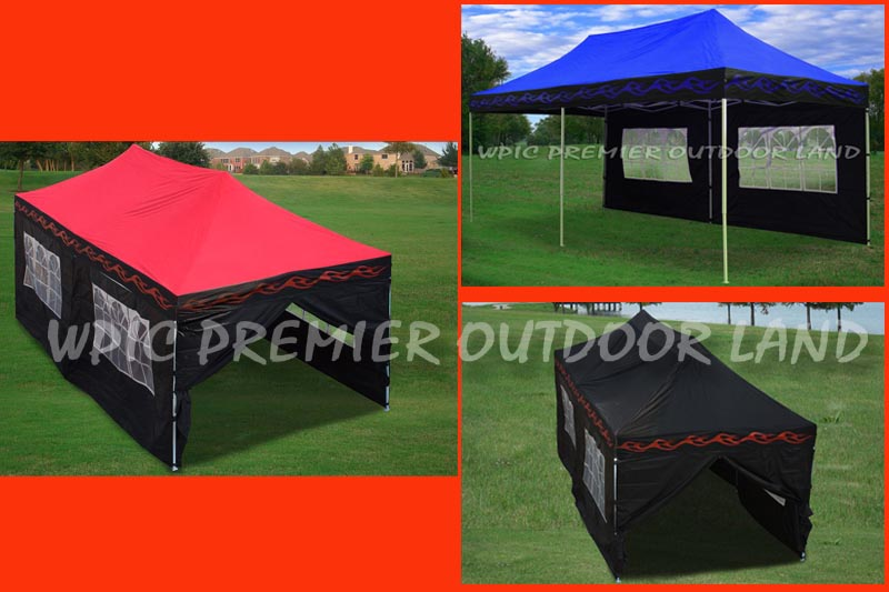 10u0027 x 20u0027 pop up canopy party tent gazebo ez 3 colors available red flame black flame or blue flame - 10x20 Pop Up Canopy