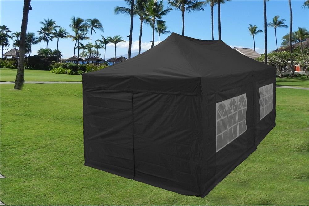 10u0027 x 20u0027 Pop Up Canopy Party Tent EZ - Black - E Model & 10u0027x20u0027 Enclosed Pop Up Canopy Party Folding Tent Gazebo - Black ...