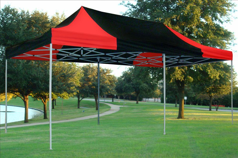 10 X 20 Pop Up Canopy Party Tent Gezebo Ez Red Black E