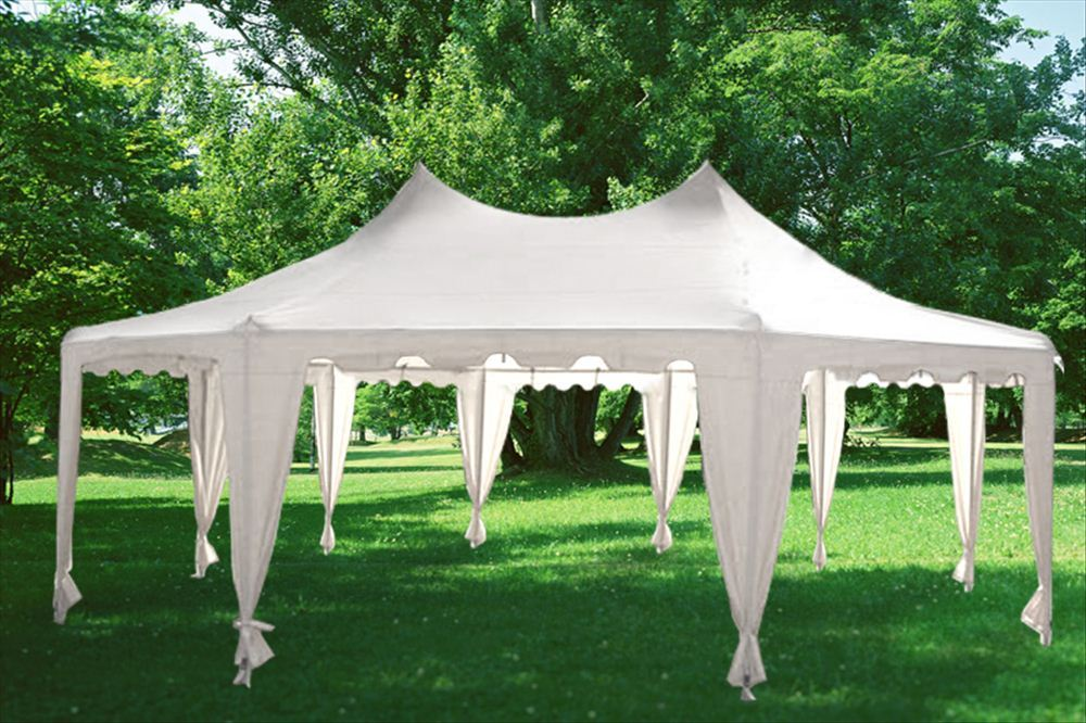 29u0027 x 21u0027 Polyester Decagonal Party Tent & 29u0027x21u0027 Decagonal Wedding Party Gazebo Tent Canopy - White ...