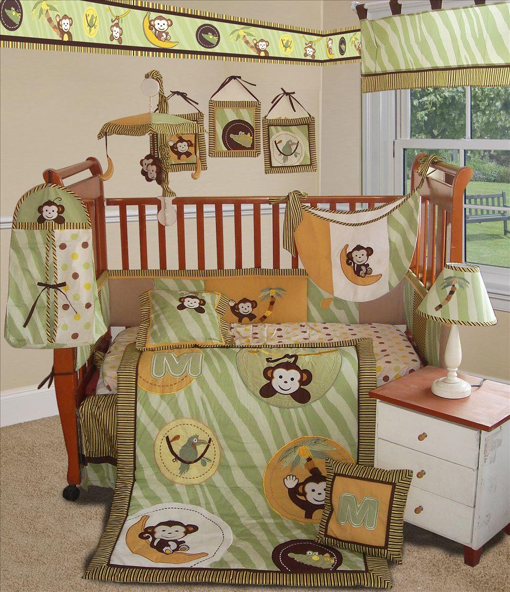 custom baby bedding jungle monkey green 13 pcs ebay. Black Bedroom Furniture Sets. Home Design Ideas