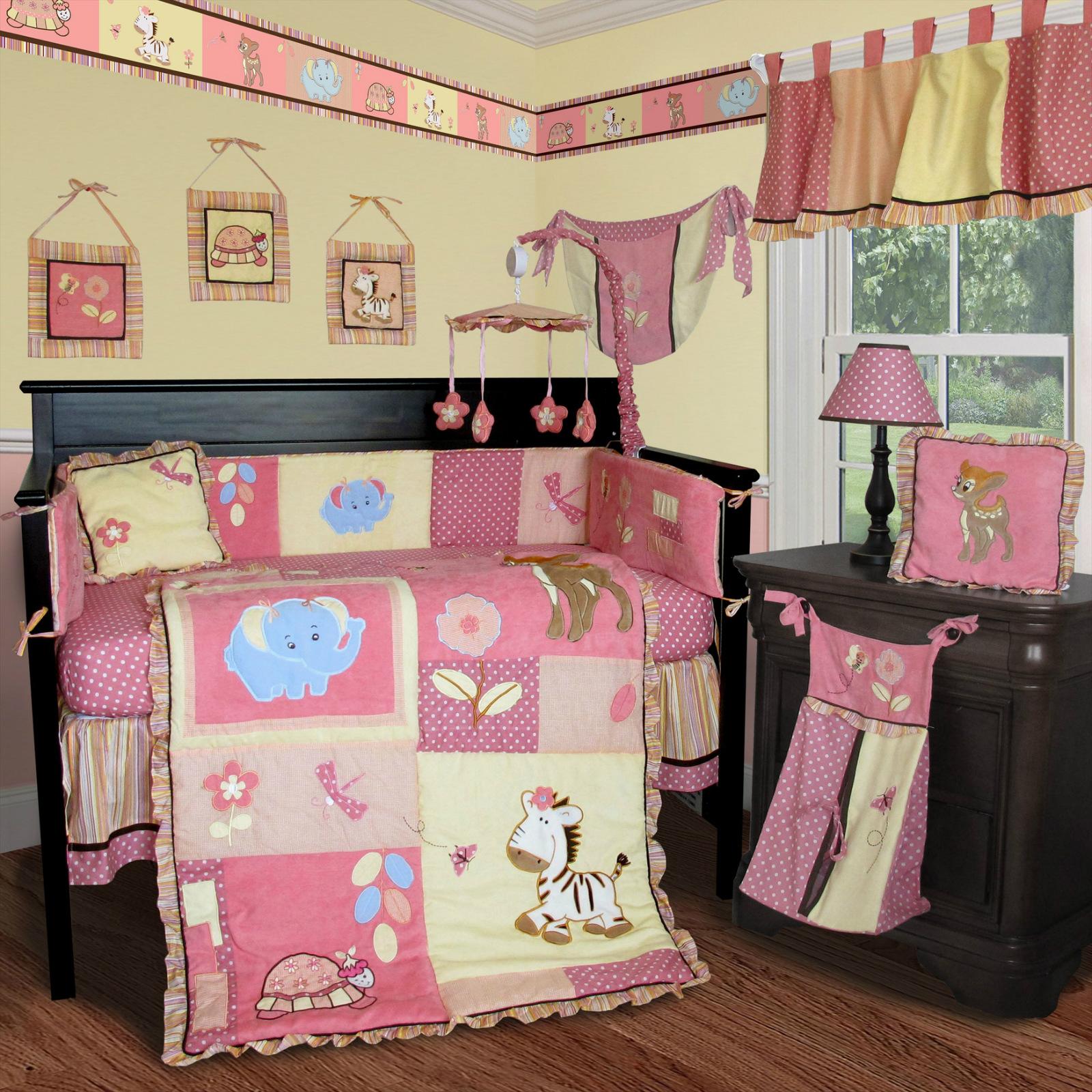 af97d51bfa6e0 SISI Custom Baby Bedding - Jungle Animal 14 PCS Crib Bedding Set incl.  Music Mobile