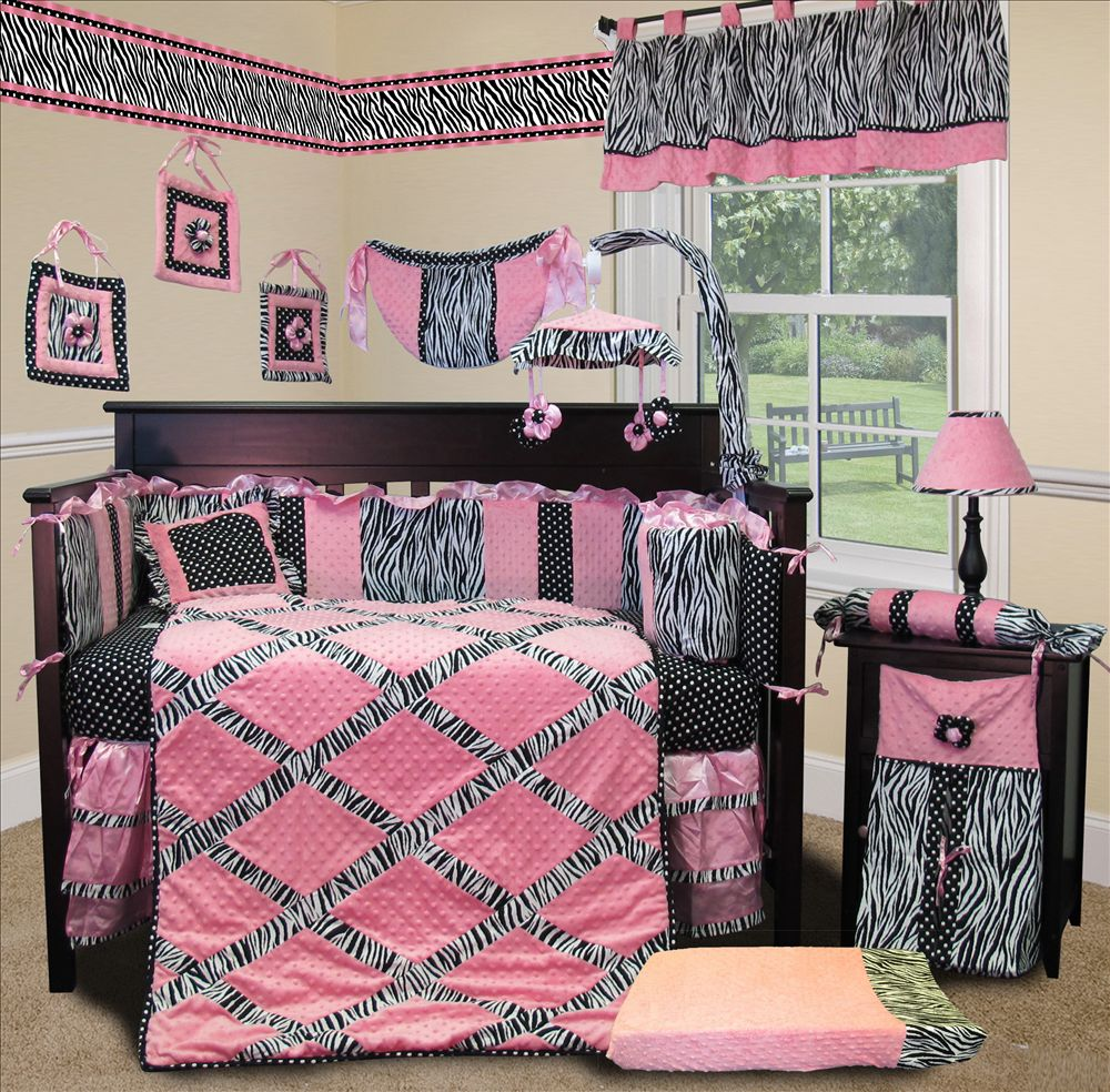 0799418234120 & Baby Boutique - Pink Minky Zebra - 15 pcs Nursery Crib Bedding Set ...