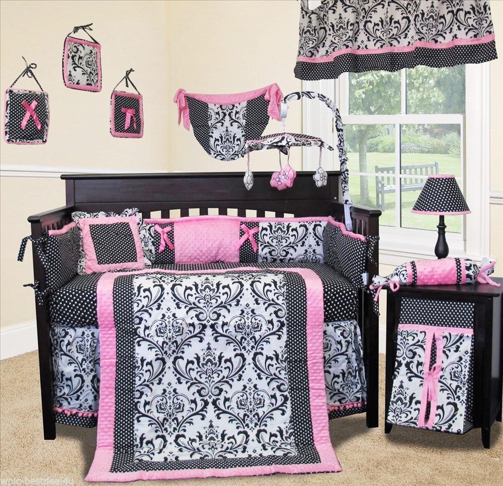 Baby Boutique Rose Damask 13 pcs Crib Nursery Bedding