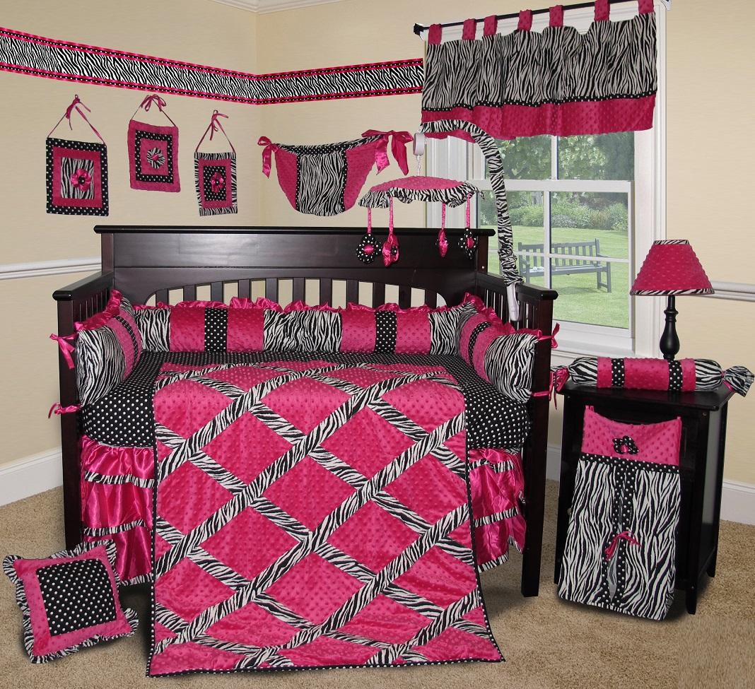 Baby Boutique Hot Pink Zebra 14 Pcs Crib Bedding Set