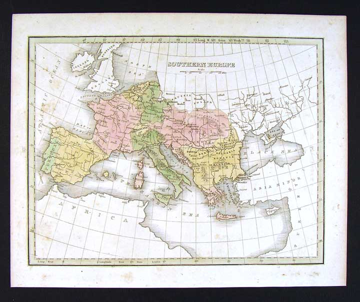 Map Of Spain Italy And France.1835 Bradford Map Southern Europe Spain Italy Greece Austria