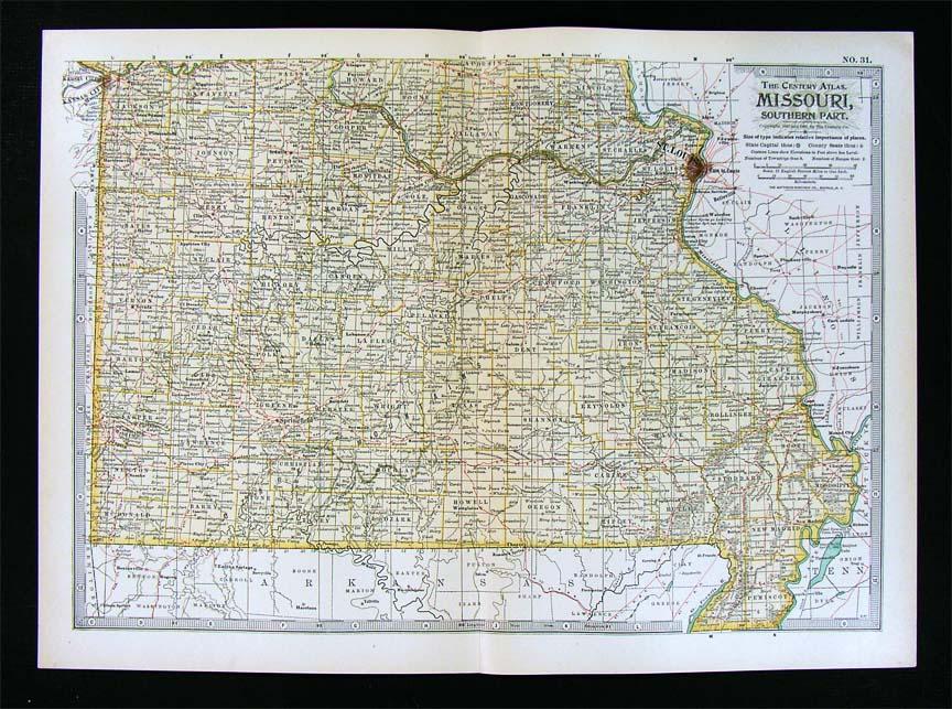 1861 SLAVE MAP Jennings Joplin Kansas City Kearney Kennett MO CIVIL WAR History