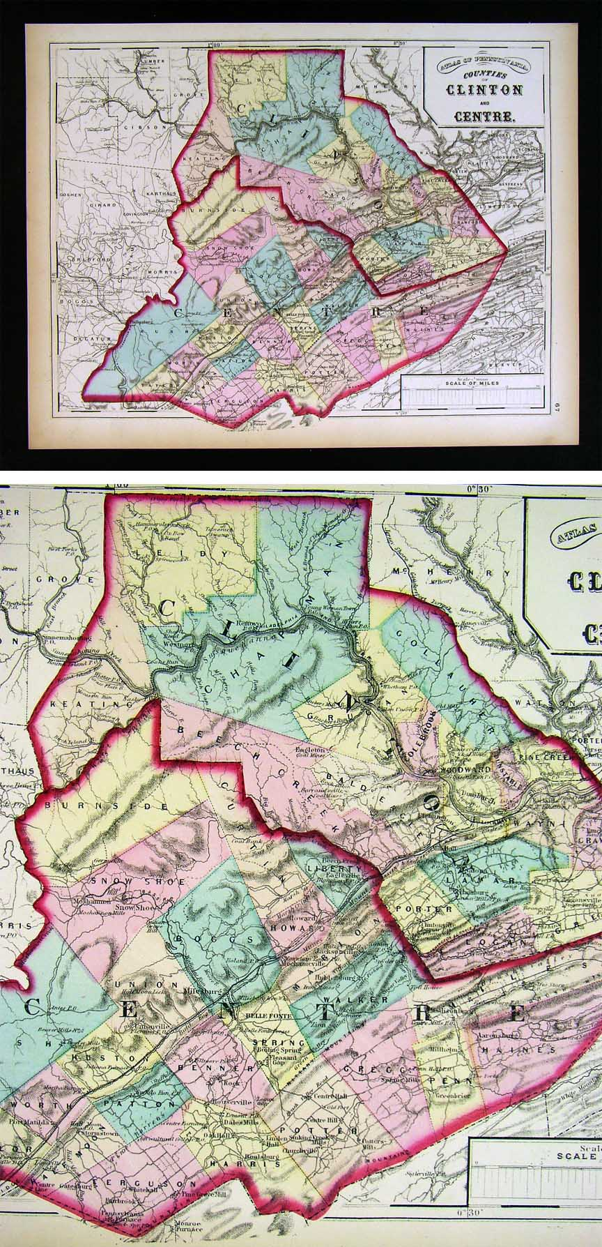 1797 PA MAP Monroeville Ellwood City Bedford Mars Davidsville Homer City SURNAME