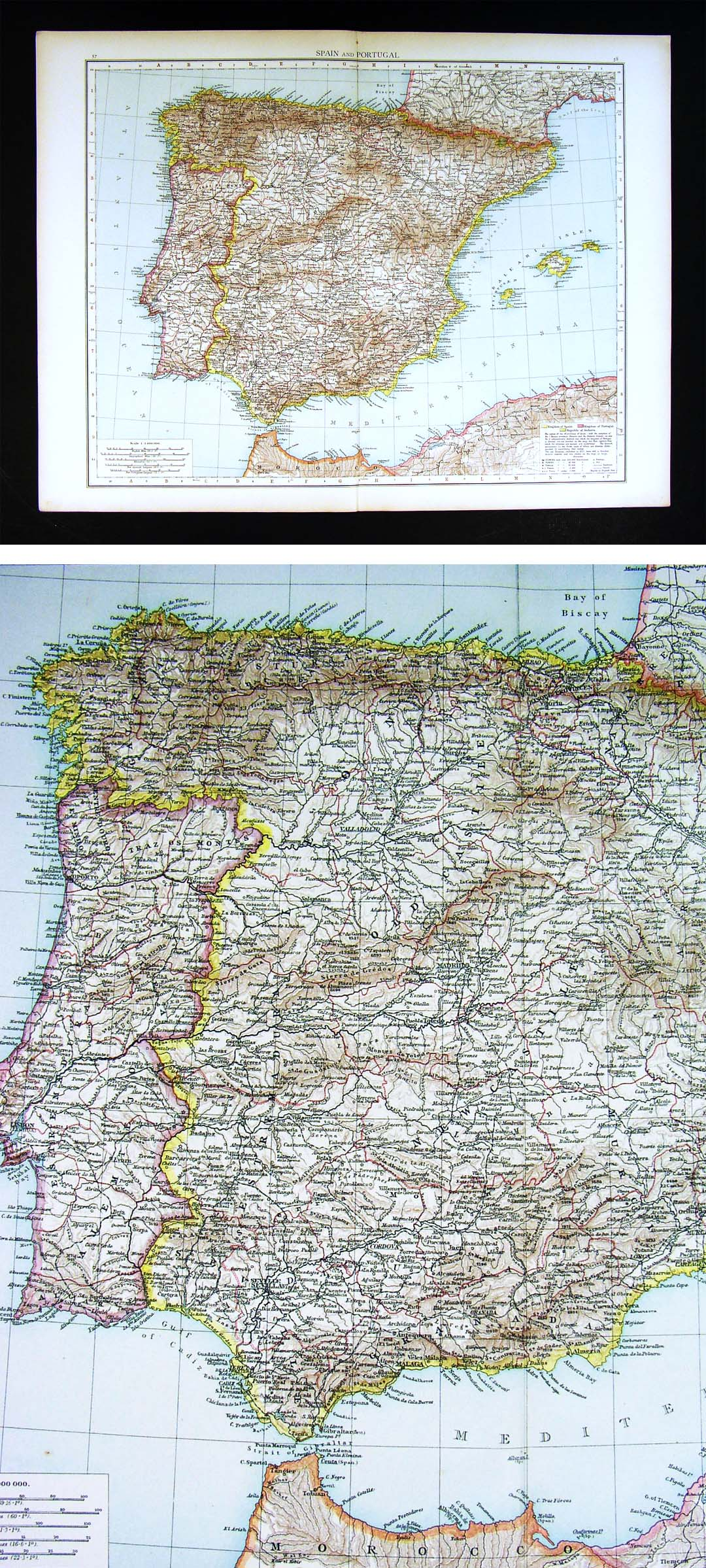 Map Of Spain Morocco And Portugal.1896 Times Atlas Map Spain Portugal Gibraltar Lisbon Madrid