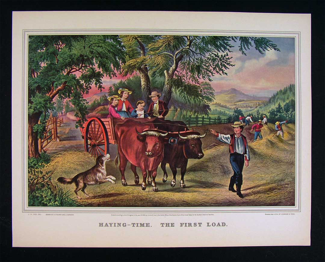 "THE FIRST LOAD/"" FARM COLOR Lithograph 1952 Vintage Currier /& Ives /""HAYING TIME"