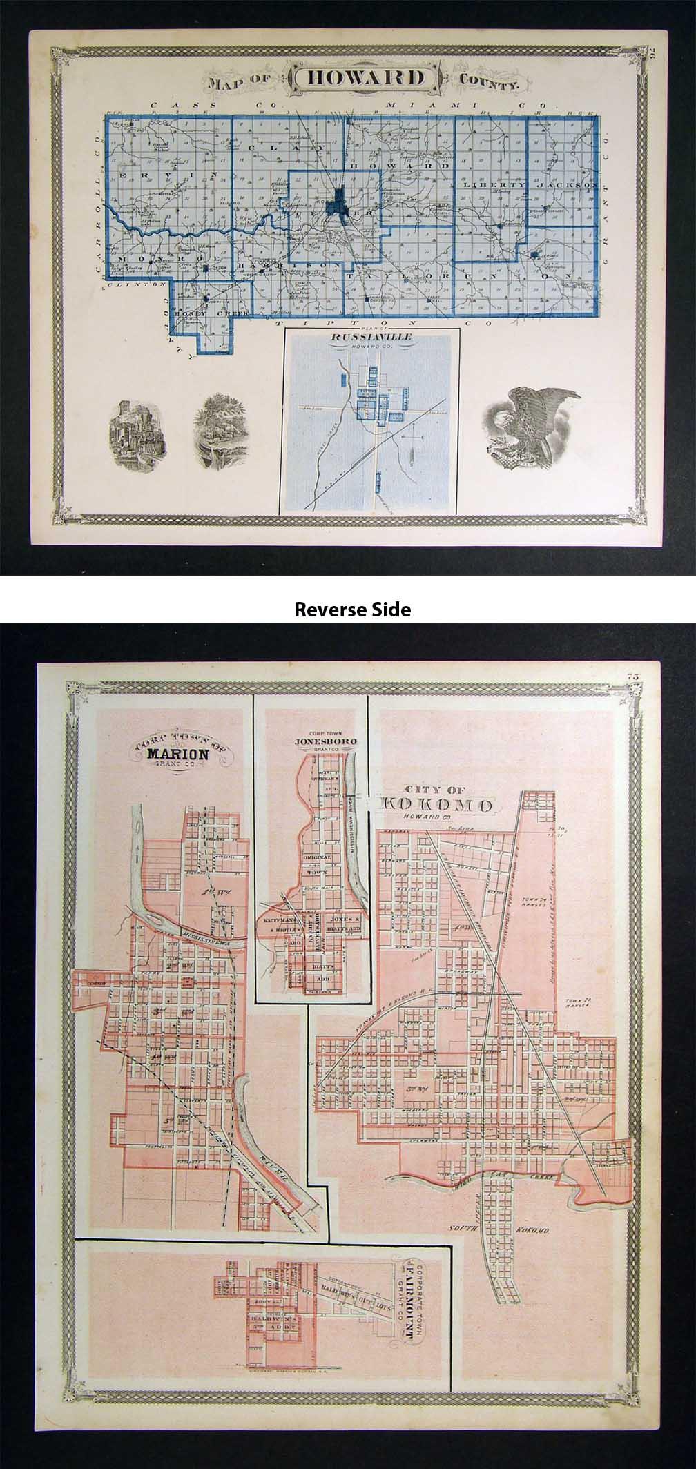 Howard County Indiana Map.1876 Indiana Map Howard County Kokomo Marion Jonesboro On Popscreen
