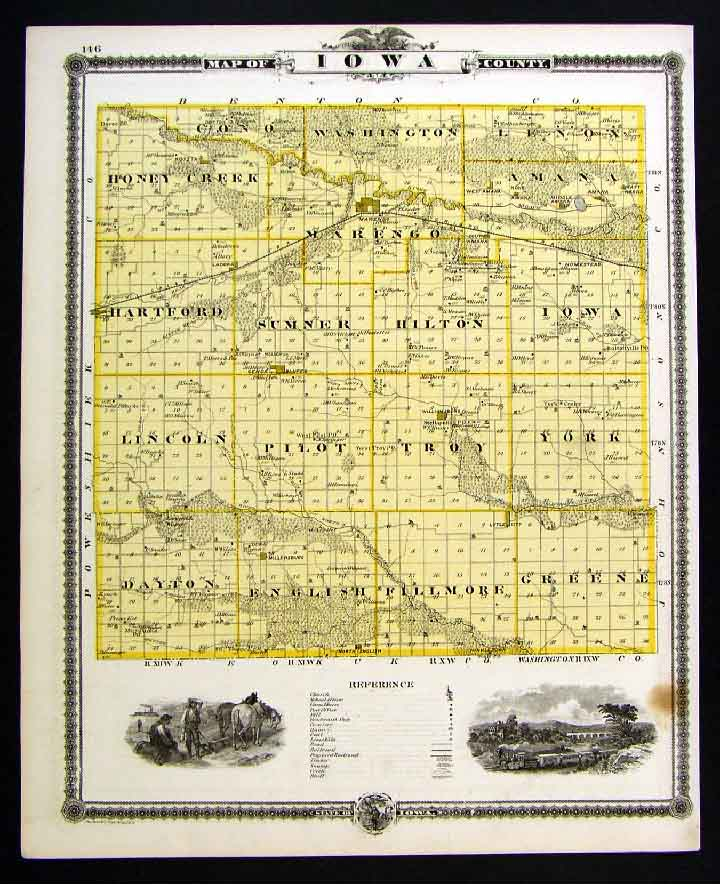 1875 Iowa Map Iowa & Tama County Marengo Toledo Traer on