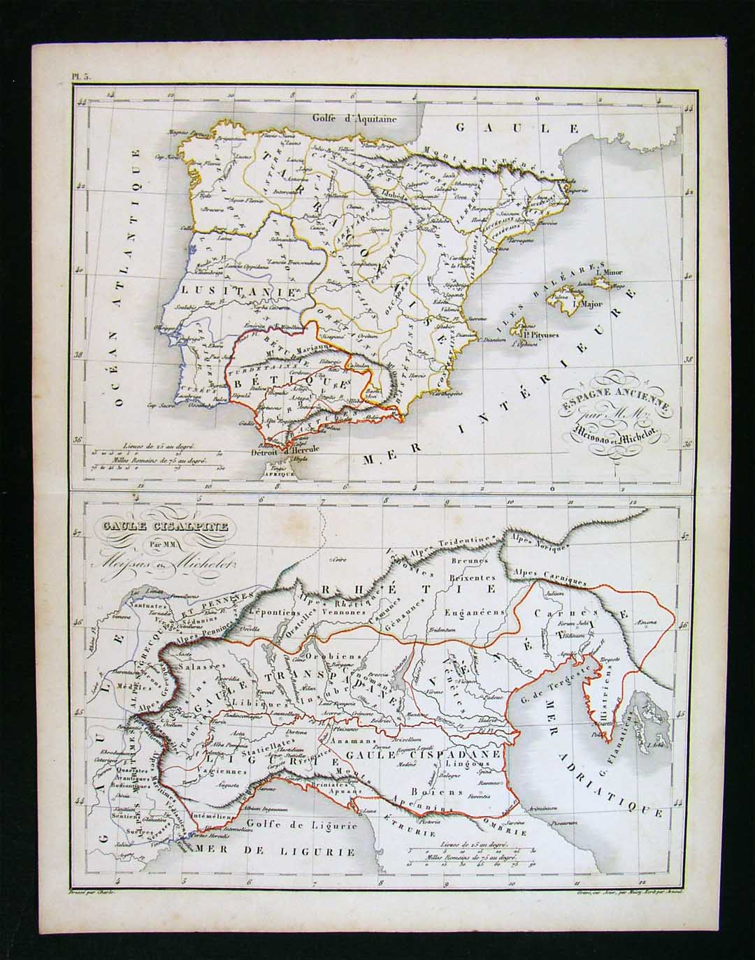 Map Of Spain Portugal And Italy.Details About 1838 Charle Map Ancient Spain Portugal Hispania Lusitania Gaule Cisalpine Italy